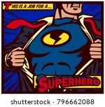 Pop art comic book style panel superhero tearing shirt and wearing costume vector poster illustration | Shutterstock vector #796662088