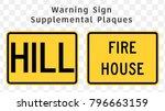 warning road signs.... | Shutterstock .eps vector #796663159