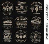 set of vintage motorcycle... | Shutterstock .eps vector #796664050