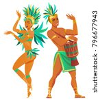 set of brazilian samba dancers. ... | Shutterstock .eps vector #796677943