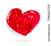 watercolor red heart on white... | Shutterstock .eps vector #796681519