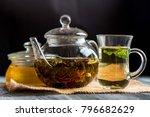 herbal tea with honey and mint... | Shutterstock . vector #796682629