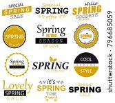 spring typographic design set. | Shutterstock .eps vector #796685059