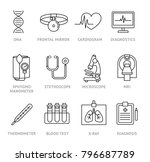 medical diagnosis icons set.... | Shutterstock .eps vector #796687789