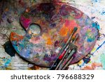 workplace painter palette with... | Shutterstock . vector #796688329