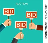 vector flat style auction and... | Shutterstock .eps vector #796690489