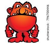 silly alien monster creature... | Shutterstock .eps vector #796700446
