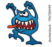 silly alien monster creature... | Shutterstock .eps vector #796700449