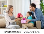 family  holidays and greetings... | Shutterstock . vector #796701478