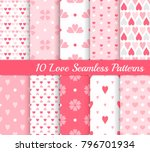 ten love seamless patterns.... | Shutterstock .eps vector #796701934