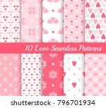 ten love seamless patterns.... | Shutterstock .eps vector #796701934