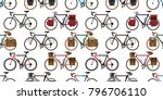 seamless pattern bicycle vector ... | Shutterstock .eps vector #796706110
