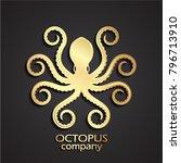 3d golden stylized octopus logo   Shutterstock .eps vector #796713910