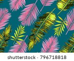 seamless watercolor floral... | Shutterstock . vector #796718818