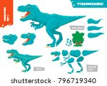 cartoon style dinosaur... | Shutterstock .eps vector #796719340
