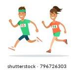 flat style athlete running... | Shutterstock .eps vector #796726303