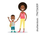 flat family with children...   Shutterstock .eps vector #796726309