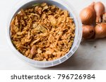 fried crispy onion flakes in... | Shutterstock . vector #796726984