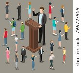 flat isometric politician or...   Shutterstock .eps vector #796727959