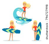 flat young woman with surfboard ... | Shutterstock .eps vector #796727998
