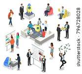 flat isometric startup business ... | Shutterstock .eps vector #796728028
