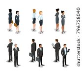 flat isometric business people... | Shutterstock .eps vector #796728040