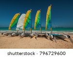 sailboat surf or catamaran on a ... | Shutterstock . vector #796729600
