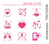 love line icons set. happy... | Shutterstock .eps vector #796732948