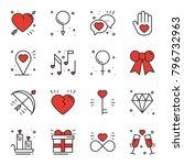 love line icons set. happy... | Shutterstock .eps vector #796732963