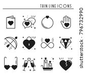 love line icons set. happy... | Shutterstock .eps vector #796732990