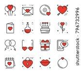 love line icons set. happy... | Shutterstock .eps vector #796732996