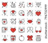 love line icons set. happy... | Shutterstock .eps vector #796732999