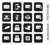 email icons. grunge black flat... | Shutterstock .eps vector #796745188