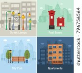 modern city places and spots... | Shutterstock .eps vector #796756564