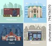 entertainment city places set... | Shutterstock .eps vector #796756570