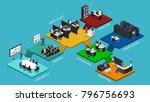 isometric flat 3d office... | Shutterstock . vector #796756693