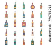 alcohol bottles cartoon icons... | Shutterstock .eps vector #796758013
