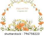 wedding invitation  a border of ... | Shutterstock .eps vector #796758223