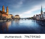 zurich city center with famous... | Shutterstock . vector #796759360