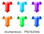 colored down arrows. 3d shiny... | Shutterstock . vector #796762546