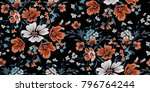 seamless floral pattern in... | Shutterstock .eps vector #796764244