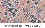 seamless floral pattern in... | Shutterstock .eps vector #796764250