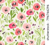 seamless watercolor floral...   Shutterstock . vector #796766296