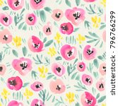 seamless watercolor floral...   Shutterstock . vector #796766299
