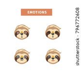sloth emotion.  character. head | Shutterstock .eps vector #796772608