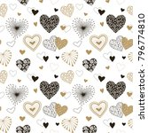 cute hearts seamless background.... | Shutterstock .eps vector #796774810