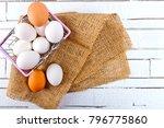 top view of chicken eggs in... | Shutterstock . vector #796775860