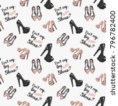 fashion pattern with flat shoes ... | Shutterstock .eps vector #796782400
