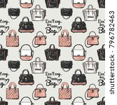 fashion pattern with dont cry... | Shutterstock .eps vector #796782463