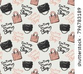 fashion pattern with dont cry... | Shutterstock .eps vector #796783189